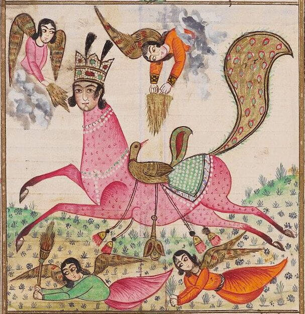 Illustration of Buraq from Yusuf and Zulaykha, a 19th-century Judeo-Persian manuscript held at The Library of The Jewish Theological Seminary, MS 1534